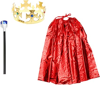 Red Boy King Cosplay Cloak Cape Prince Crown Birthday Party Cosplay costume