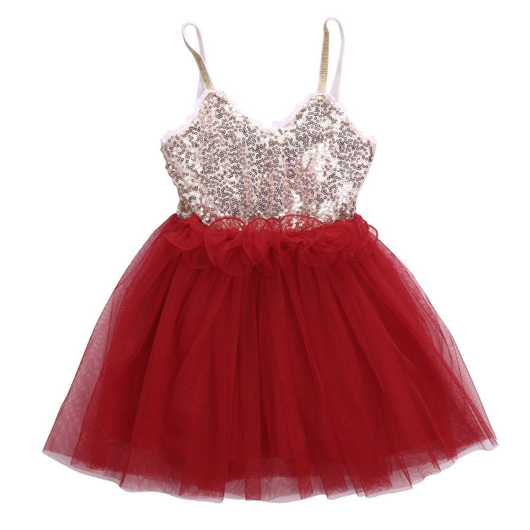 Kids Toddler Baby Girls Lace Tulle Sequins Princess Party Fancy Dresses