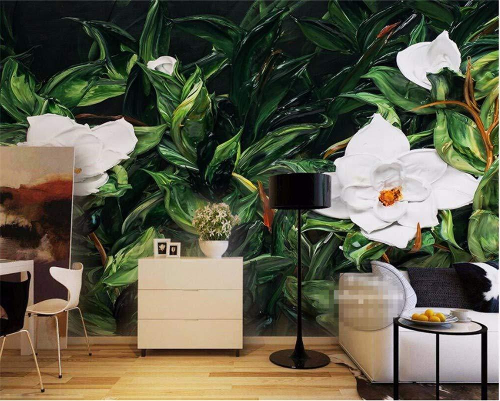 Weaeo 壁の3D壁紙の白い椿の緑の葉の風景の寝室のリビングルームのテレビの壁紙をカスタマイズする-400X280Cm B07HB1DQRZ 400X280cm 400X280cm