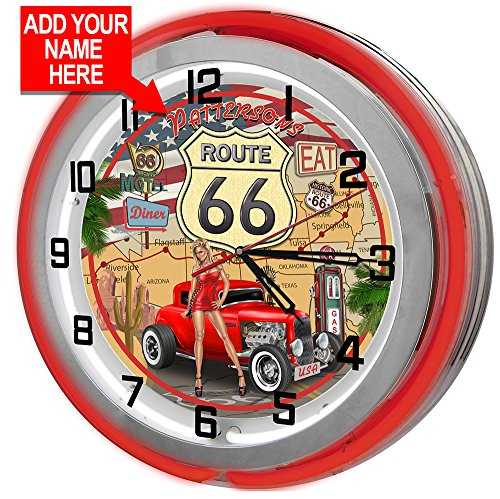 Redeye Laserworks Personalized Route 66 Wall Clock