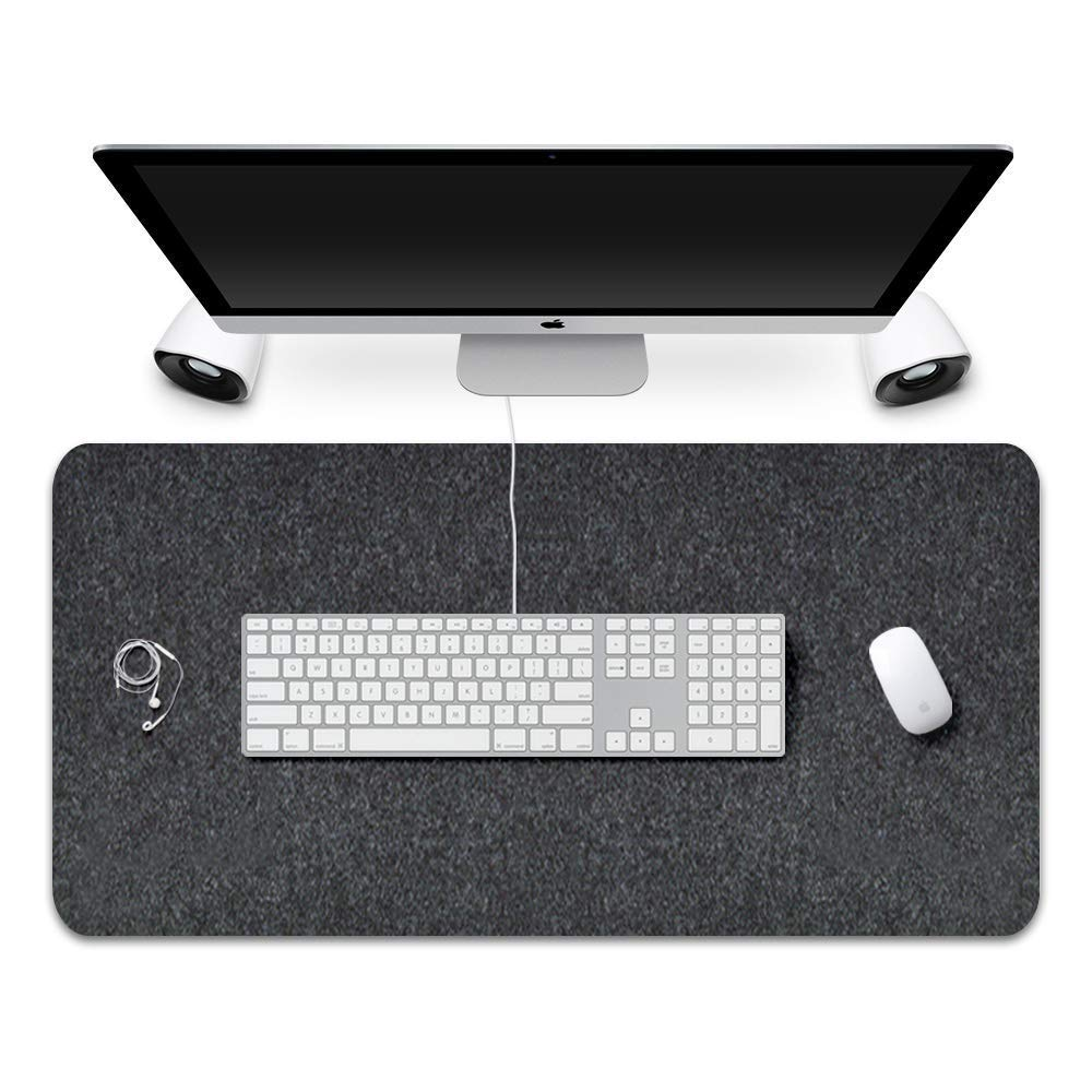 Extended Gaming Mouse Pad Non-Slip Desk Pad Protector Office Writing Mat Felt Base 0.12 Inch Thick (Black Gray)