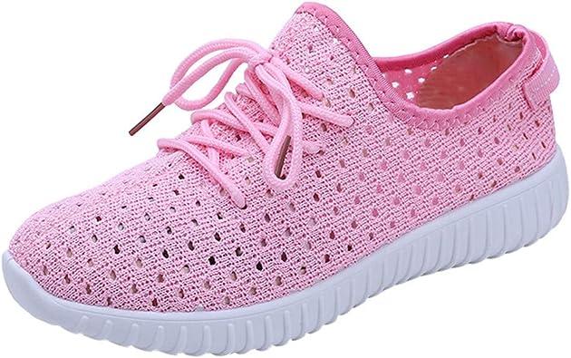 OHQ Chaussures De Course Plates en Maille Respirante Rose
