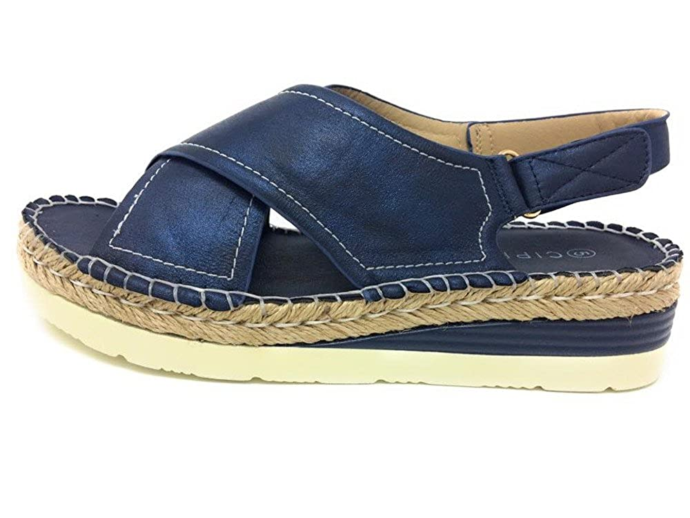 89879f81e74 CIPRIATA Womens Low Wedge Comfort Sandals Navy Shimmer  Amazon.co.uk  Shoes    Bags