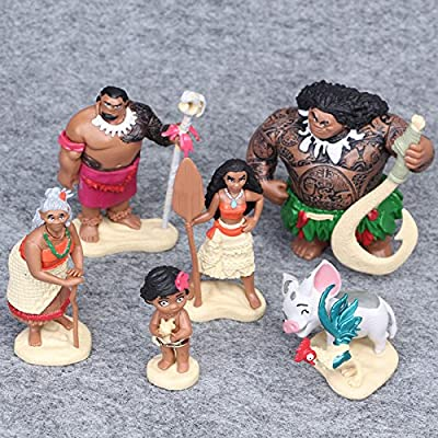 Set 6pc Moana Maui Hei Hei Playset 6 Figure Topper Cake Toy Doll: Office Products