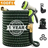 "VIENECI 100ft Garden Hose Upgraded Expandable Hose, Durable Flexible Water Hose, 9 Function Spray Hose Nozzle, 3/4"" Solid Brass Connectors, Extra Strength Fabric, Lightweight Expanding Hose"