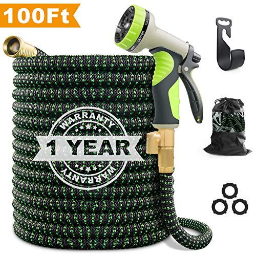 VIENECI 100ft Garden Hose Upgraded Expandable Hose, Durable Flexible Water Hose, 9 Function Spray Hose Nozzle, 3/4