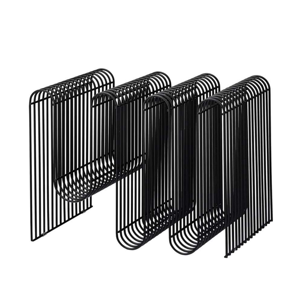 Black Feifei Bookshelf Wrought Iron Modern Minimalist Magazine Rack Creative Floor-Standing Small Bookshelf 40  30  30 (Black, gold) (color   Black)