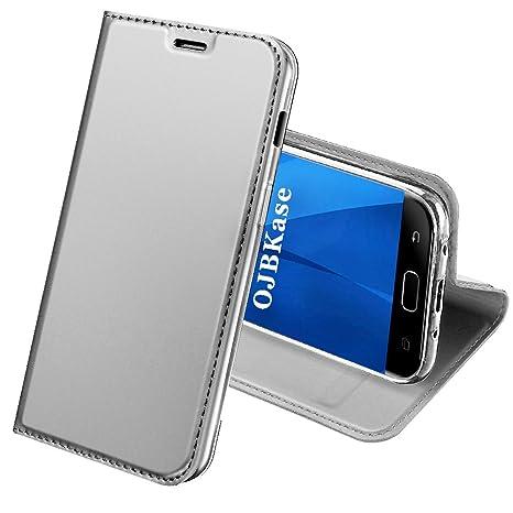 OJBKase Funda Samsung Galaxy J3 2017, Premium Piel sintética Billetera Carcasa Protectora Cartera y Funda Cubierta Interior TPU Protección De Cuerpo ...