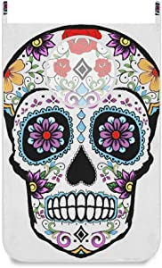 SLHFPX Hanging Laundry Hamper Bag Image Gallery Sugar Skull Door/Wall/Closet Hanging Large Laundry Bag Basket for Dirty Clothes Storage Organizer,Oxford Waterproof,with 2 Hooks,Space Saving