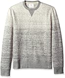 Billy Reid Men's Long Sleeve Gradient Crew Neck Sweatshirt, Light Grey Melange, Medium