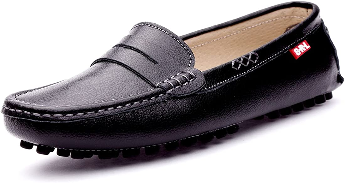 SUNROLAN Womens Classic Genuine Leather Penny Loafers Driving Moccasins Casual Slip On Boat Shoes Fashion Comfort Flats