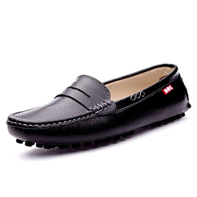 f6494731fc0c SUNROLAN 838-hei7 Casual Women s Genuine Leather Penny Loafers Driving  Moccasins Slip-On Boat