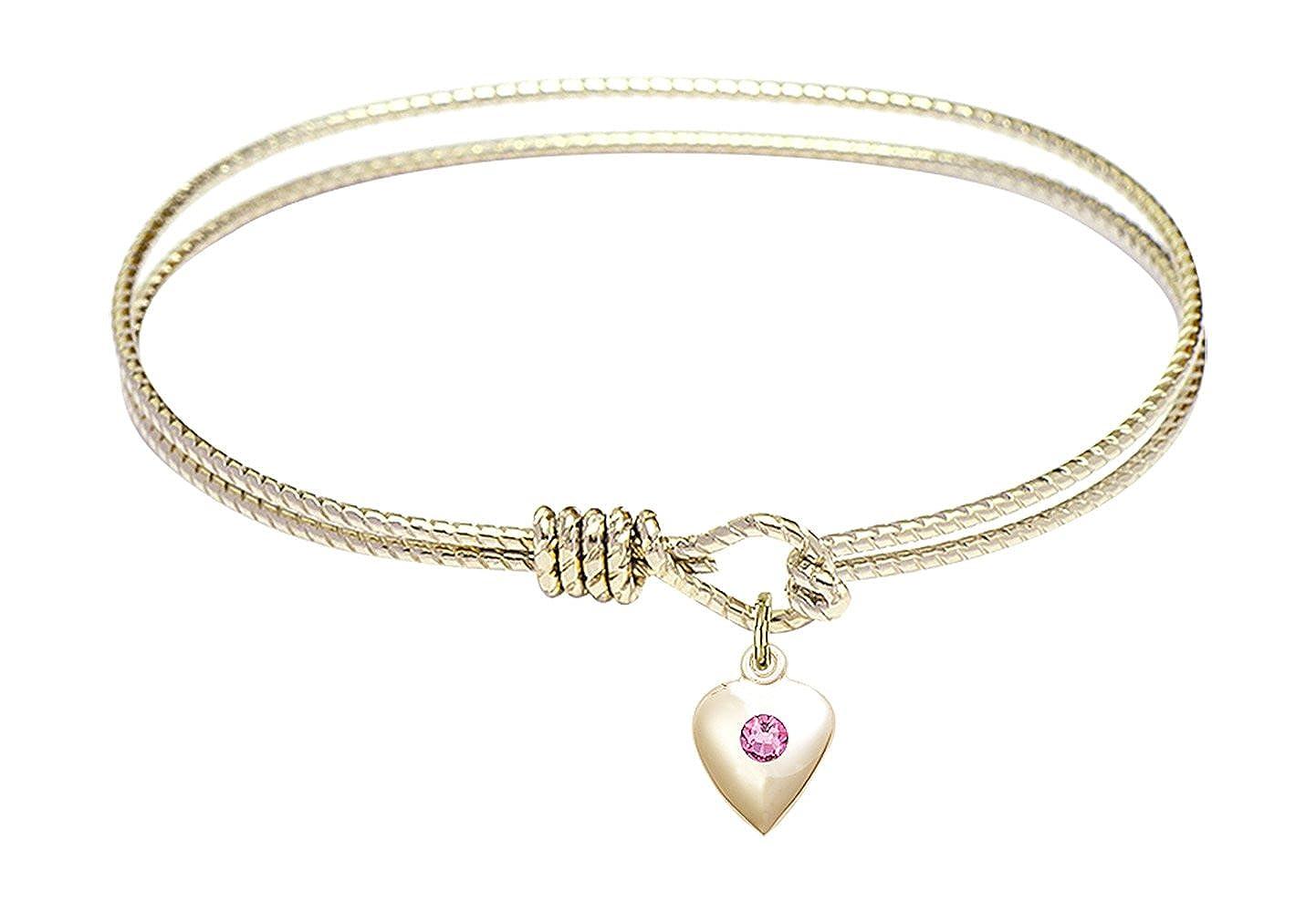 Heart Charm On A 7 1//4 Inch Oval Eye Hook Bangle Bracelet