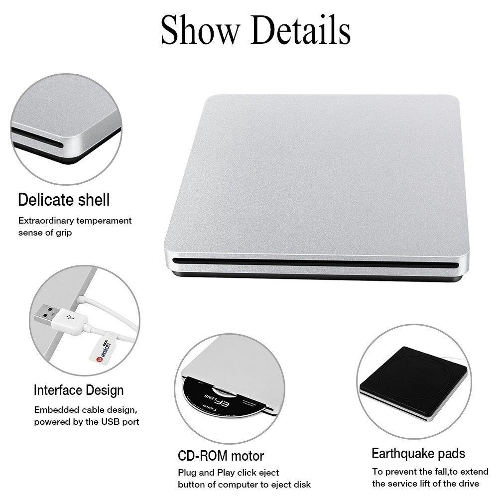 External CD DVD Drive, VersionTECH. USB Ultra-Slim Portable CD DVD RW/DVD CD ROM Burner/Writer/ Superdrive with High Speed Data Transfer for Mac MacBook Pro/Air iMac Laptop by VersionTECH. (Image #2)