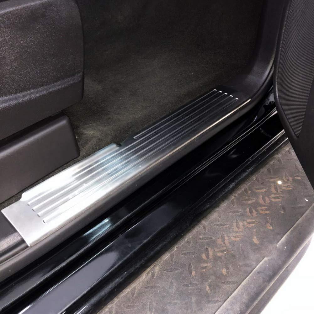 JSTOTRIM Stainless Steel Car Door Sill Door Entry Guard Car Door Entry Protectors for GMC Sierra Crew Cab Model only 1500 2500 2014 2015 2016 2017 2018
