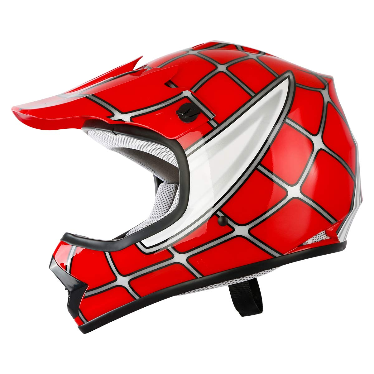 S TCT-MT Youth Kids Helmets+Goggles+Gloves Red Spider DOT Net Dirt Bike Helmet Motocross ATV MX Helmet w//Gloves+Goggles