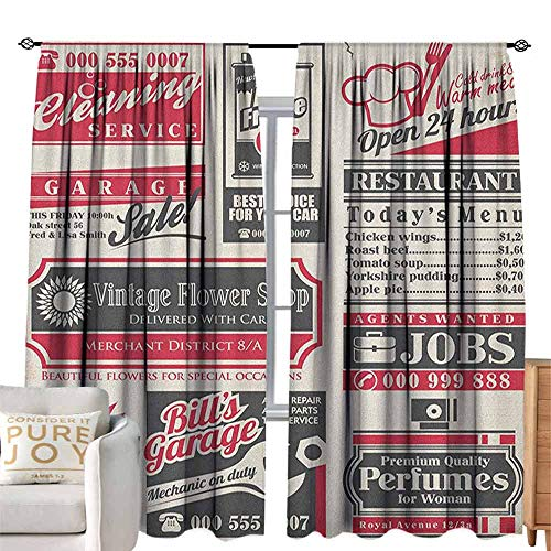 Blackout Curtain Retro,Retro Newspaper Magazine Design Outdated Layout Different Topics Title Artwork, Cream Red Black for Small Window,W84 x L108 inch (Create And Decorate Magazine Out Of Business)