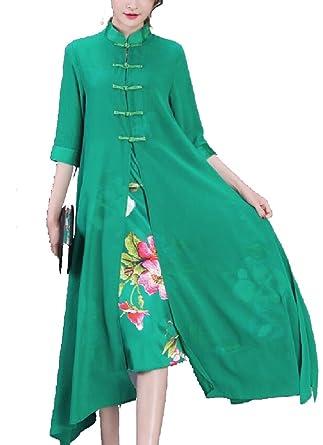 3c86ce8a2bcfa M&S&W Women's Fake Two Piece Cheongsam Stylish Casual Chiffon Dresses at  Amazon Women's Clothing store: