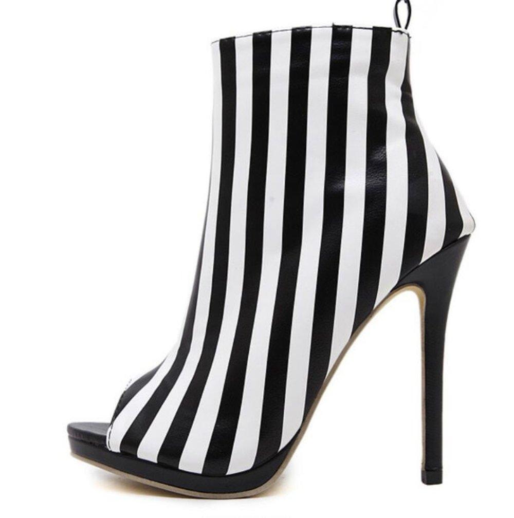 LINYI Stiletto Heels Striped High Heels Damenschuhe New Open Toe Sandalen Kunstleder  37|Black