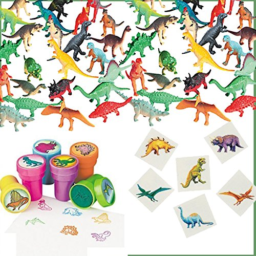 168 Piece Dinosaur Birthday Party Favors for 24 Kids - 24 Dinosaur Stampers, 72 Dinosaur Tattoos, 72 Dinosaur Mini Figures plus Party Game (Dinosaurs Party Ideas)