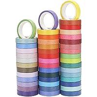 YUPVM 60 Pcs/Set Basic Solid Color Washi Tape Rainbow Masking Tape Decorative Adhesive Tape Sticker Scrapbook Diary…