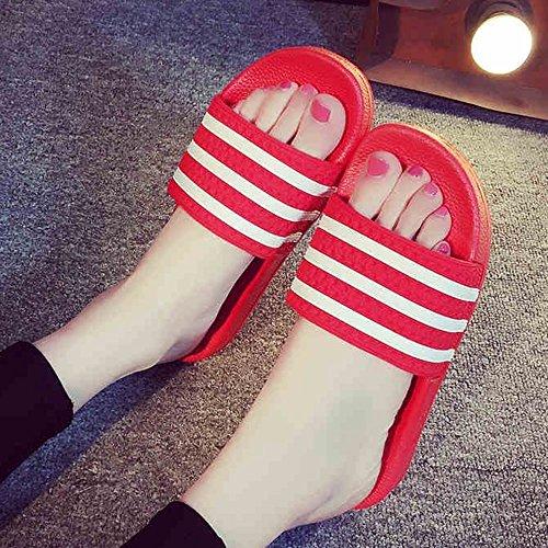 Verano Sandalias Zapatillas de verano masculinas femeninas verano suave abajo lindo antideslizante coreano interior casa rayas sandalias y zapatillas (tamaño opcional) Color / tamaño opcional ( Color 04