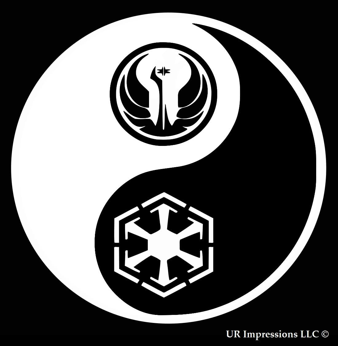UR Impressions The Force - Jedi Sith Yin Yang Decal Vinyl Sticker Graphics for Car Truck SUV Van Wall Window Laptop|White|5.5 Inch|URI430