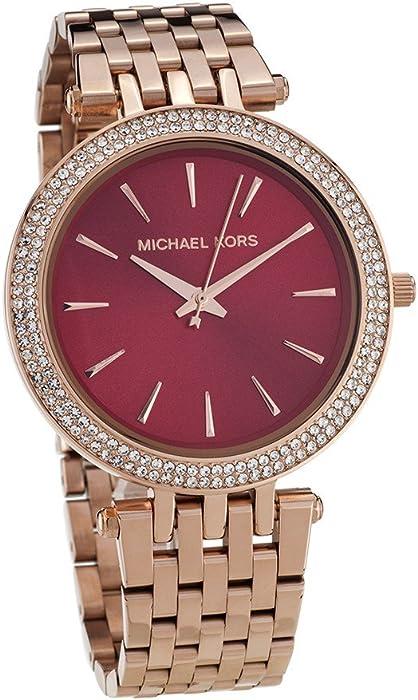 53563612cb1 Michael Kors MK3378 Women s Darci Crystal Bezel Dark Red Dial Rose Gold  Steel Bracelet Watch