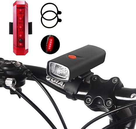 G-W-J Conjunto De Luz De Bicicleta LED, Faros Pueden Cargar El ...