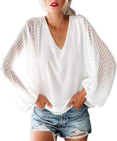 Moda de Mujer Encajes Camiseta Casual Tops para Mujer Sexy Blusa de Manga Larga Suelta Cuello en V Camisas para Mujer Otoño e Invierno Tallas Grandes riou: Amazon.es: Ropa y accesorios