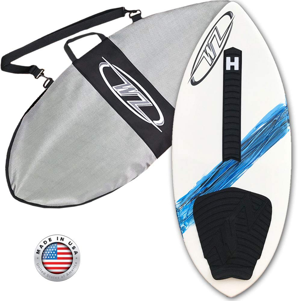 Wave Zone SE Carbon & Fiberglass Skimboard - 42'' - Riders Up to 130 lbs - Complete with Traction Deck Grip (Blue 42'' Board + Day Bag) (Blue Board + Day Bag) by Wave Zone Skimboards