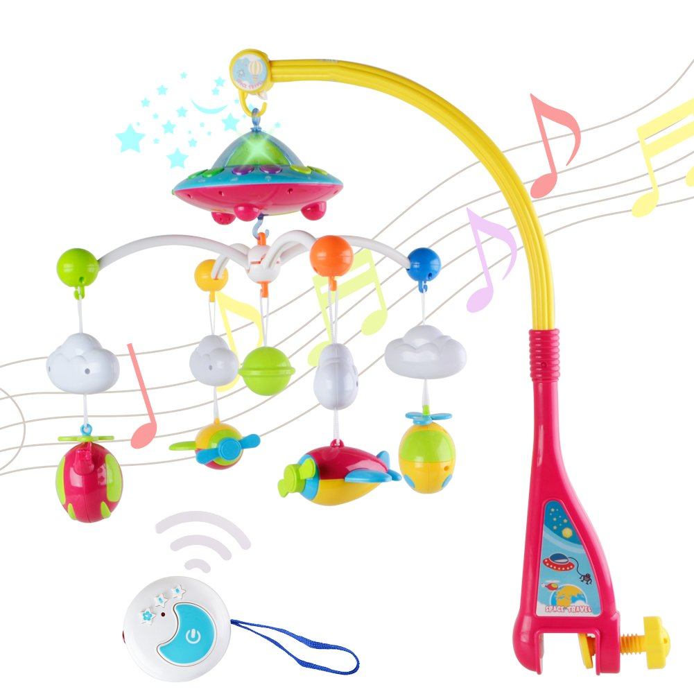 Baby Crib Mobile Musical Toy - WISHTIME Rotating Overhead Stars Dreams Projector Play Soothing Lullabies with Remote Control
