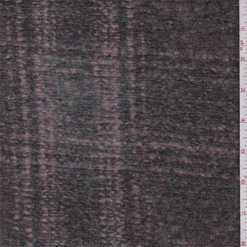 Grey/Pink Plaid Boiled Wool Knit, Fabric by The Yard -