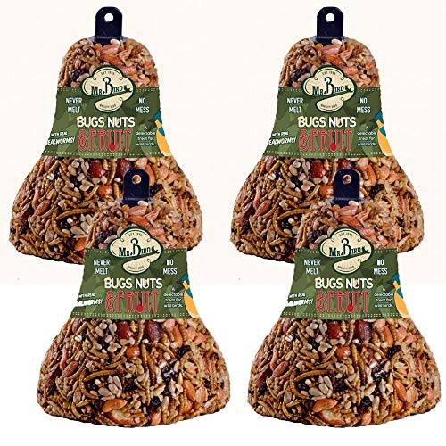 (4-Pack of Mr. Bird Bugs, Nuts, Fruit Wild Bird Seed Bell 12.5 oz. )