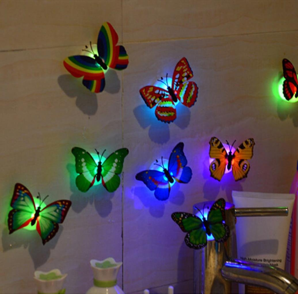Night Light, Tuscom@ 10 Pcs LED Butterfly Wall Stickers Lights Wall Stickers 3D House Decoration