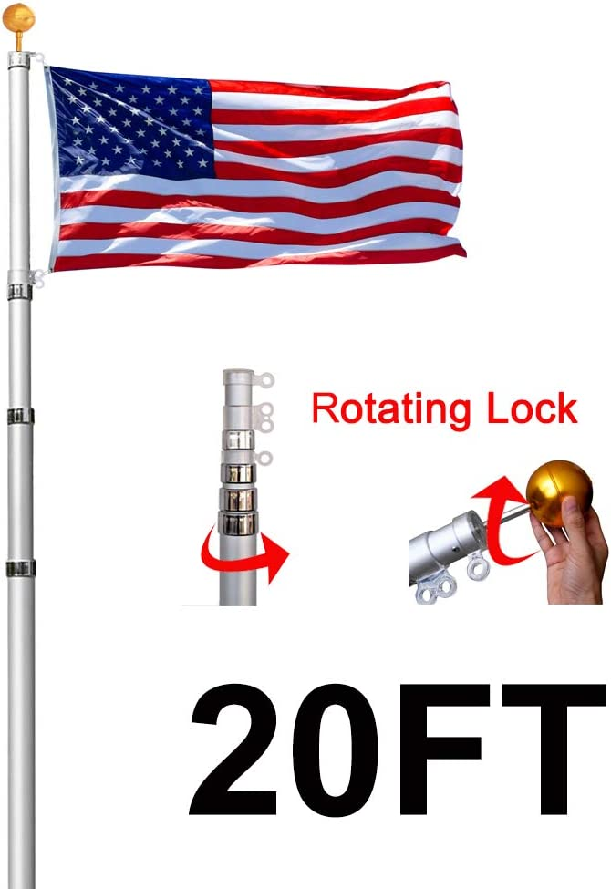 Lomejor - Mástil telescópico de Aluminio para Bandera de Estados Unidos de 0, 9 m x 1, 5 m y Kit de Bola Superior de Calibre 16: Amazon.es: Jardín