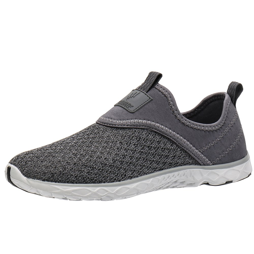 ALEADER Men's Slip-on Athletic Water Shoes All Grey 9.5 D(M) US