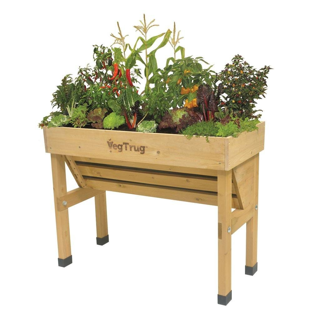 Wall Hugger 40 in. W x 30 in. H Wooden Raised Bed Planter Stand