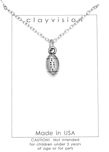 Amazon.com  Clayvision Football Necklace with No Swarovski Crystal ... 97e37ad845