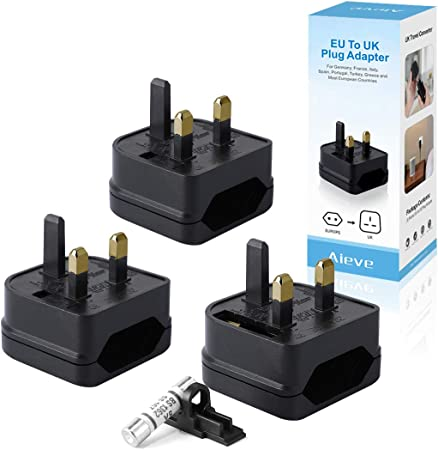 3 Pack White Euro Converter Plug Adaptador de enchufe de 2 pines UE a Reino Unido AIEVE UK Travel Converter