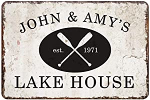 INNAPER Personalized Name Vintage Distressed Look Lake House Metal Room Sign Customized Wall Art Plaque Sign Gift