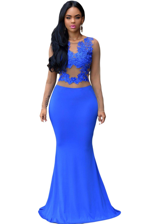 Ladies Royal Blue & Nude Mesh Evening Dress Maxi Dress Cocktail Dress Cruise Prom Wedding Size L UK 12 EU 40