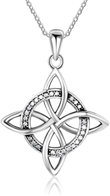 Solid Silver Celtic Pendant Necklace With Chain 925 hallmark
