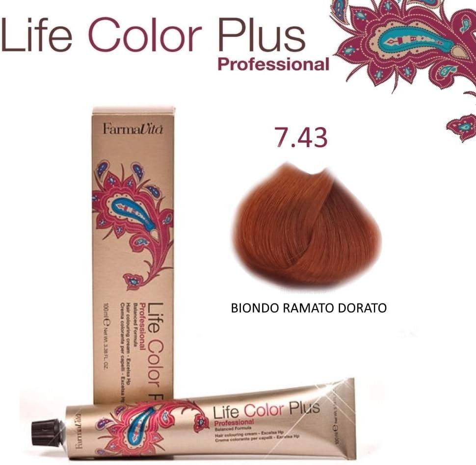 Farmavita Life Color Plus, Tinte 7.43 Rubio Cobre Dorado - 60 ml