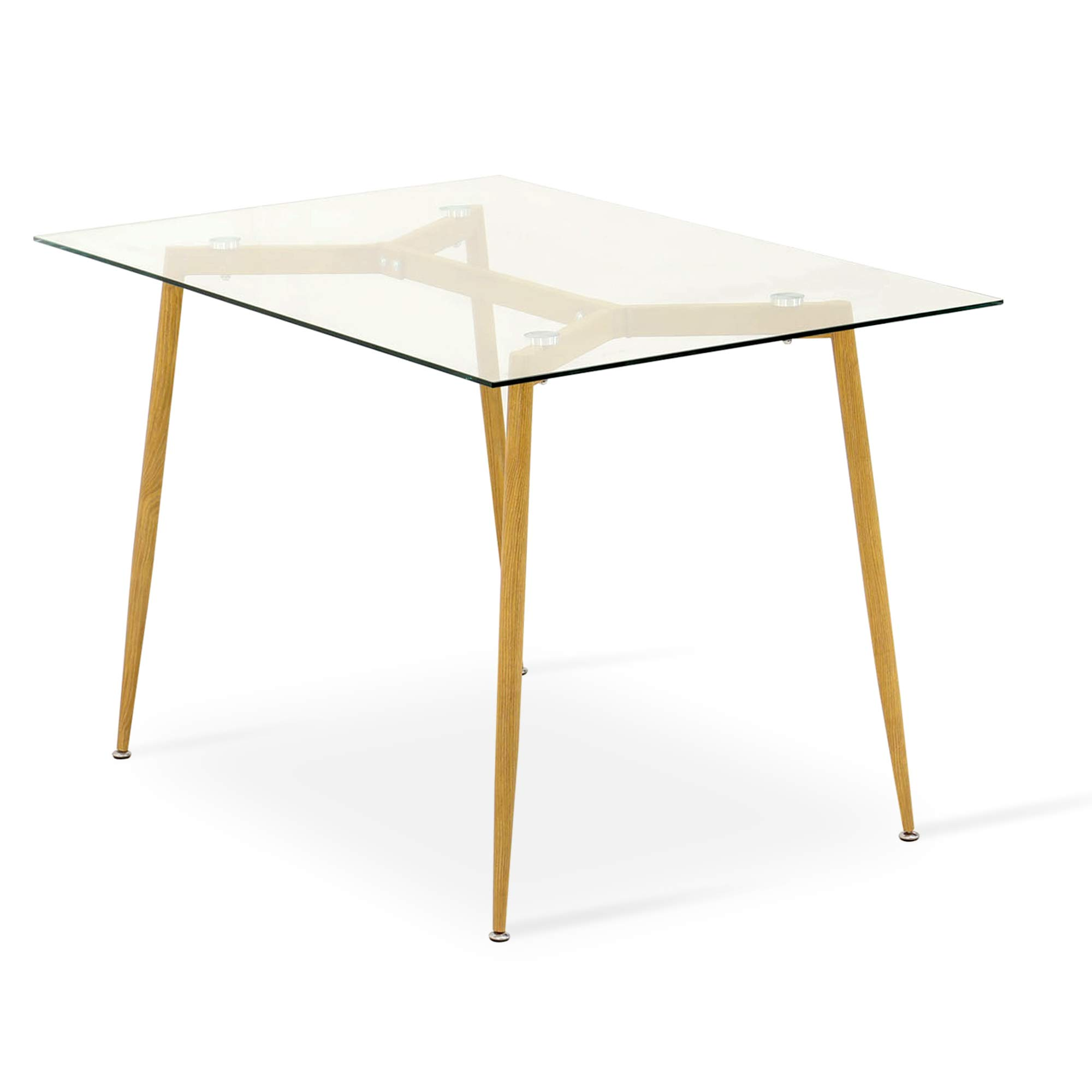 Ivinta Kitchen Modern Glass Rectangular Dining Table 48'' x 32'' for 4/6 with Foot pad for Dining Room Mid-Century Leisure Office Table Wooden Skin by Ivinta