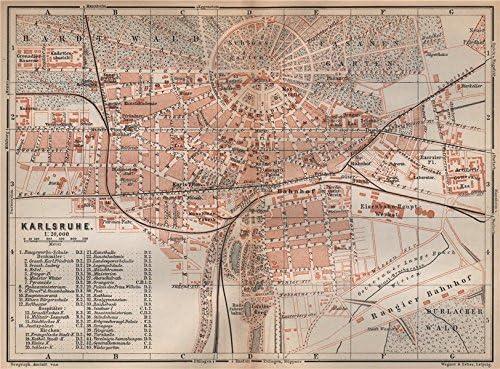 Amazon Com Karlsruhe Antique Town City Stadtplan Baden