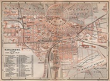 Karlsruhe Karte.Amazon De Antike Karlsruhe Stadtplan City Stadt Baden Württemberg