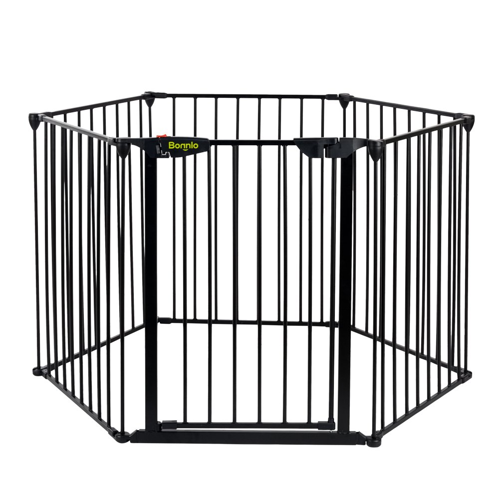 Bonnlo 145-Inch Metal Fireplace Fence Adjustable 6-Panel Baby Safety Gate Play Yard for Toddler/Pet/Dog/Cat Christmas Tree Fence Wide Barrier Gate, Black