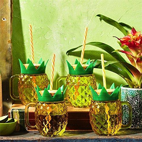 Pineapple Mason Jar Cups w Straws Set of 4 by Twos Company