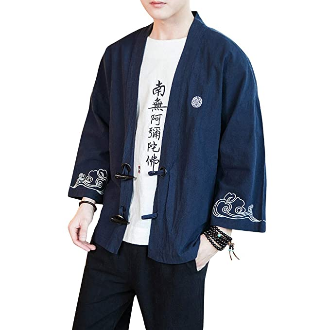 Hombre Chaqueta de Kimono Verano Casual Impresión Suelta ...